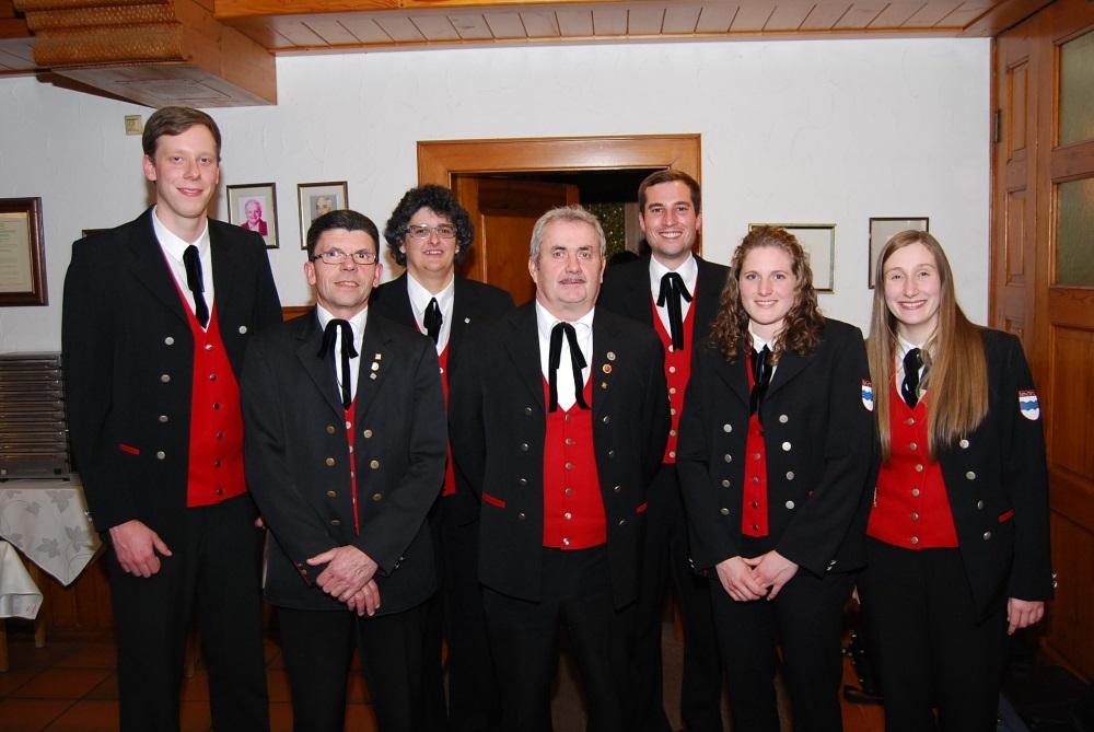 Die Vorstandschaft (von links): Christoph Wangler, Bruno Himmelsbach,  Gabriele Ohnemus, Arnold Schultheiß, Dominik Schätzle, Alexandra  Singler, Lisa Kopf